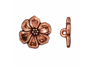 TierraCast Antique Copper Apple Blossom Button 15.75mm x 5mm One button Made in the USA