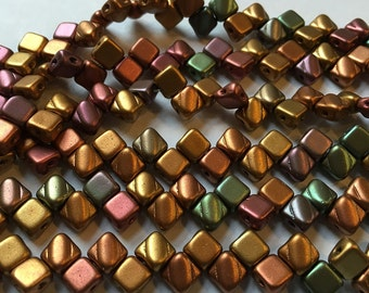 Crystal Violet Rainbow Two Hole Silky Czech Pressed Glass 6mm Two Hole Angled Square Beads 40 pcs