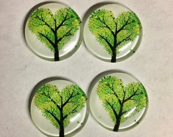 4 Tree Nature Green Heart Leaves Flat Back Glass Dome Cameo Jewelry Cabochon Pendant 20mm Round 4 pcs