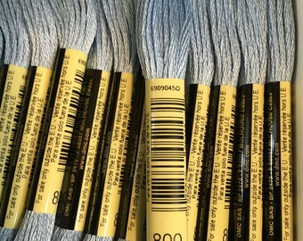 DMC 800 Pale Delft Blue Embroidery Floss 2 Skeins 6 Strand Thread for Embroidery Cross Stitch Needlepoint Sewing Beading