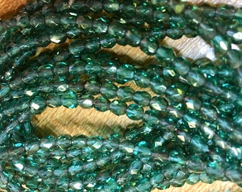 4mm Blue Green Teal Gold Luster Czech Glass Fire polished Crystal Beads 50 beads