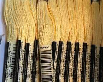 DMC 744 Pale Yellow Embroidery Floss 2 Skeins 6 Strand Thread for Embroidery Cross Stitch Needlepoint Sewing Beading