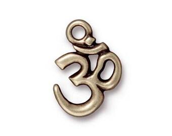Ohm Charm Antique Bronze TierraCast Meditation Yoga Charm One Charm