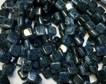 Black with Blue Green Picasso Czech Mates Two Hole Tile Beads Czech Pressed Glass Square Beads 6mm 25 beads