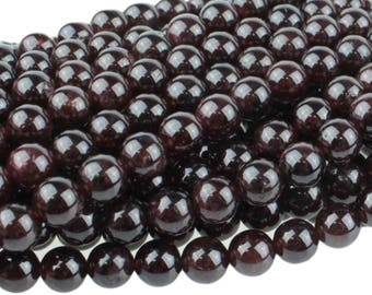 Red Garnet 6mm Gemstone Round Beads Approx 32 beads 8 Inch strand