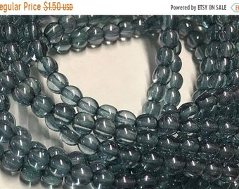 ON SALE Denim Blue Luster Czech Pressed Glass Round Druk Beads 4mm 50 beads