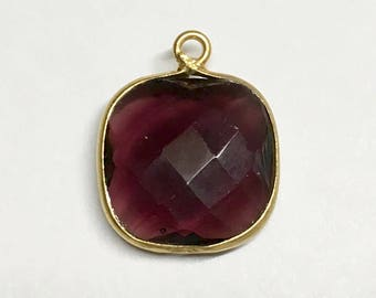 Amethyst Faceted Square Drop Pendant with Gold Plated Bezel 20mm x 16mm with Top Loop One pendant P104