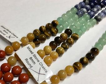 Chakra Stones Mixed Varieties Gemstone Beads Tiger eye Sodalite Red Jasper Amethyst Aventurine Approx 25 beads per 8 inch Strand