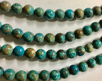 Imperial Jasper Gemstone Beads Smooth Rounds 8mm 8 inch strand Approx 24 pcs per strand