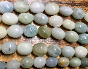 Aquamarine Multicolor Smooth Oval Gemstone Beads Approx 13 beads per 8 inch strand