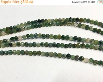 ON SALE Moss Agate Gemstone Faceted Rounds 4mm 8 inch strand Approx 40 pcs per strand