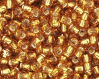 11/0 Silver Lined Topaz Toho Glass Seed Beads 2.5 inch tube 8 grams TR-11-22C