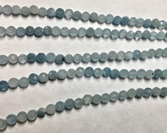 Aquamarine 3mm Faceted Gemstone Round Beads Approx 60 Beads