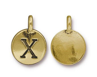 "Letter ""X"" Initial Pendant Tiny Gold Charm TierraCast Antique Gold Alphabet Charms TierraCast Lead Free Pewter 16.5x11.5mm One Charm"