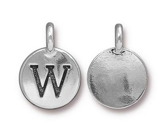 "Letter ""W"" Initial Pendant Tiny Silver Charm TierraCast Antique Silver Alphabet Charms Lead Free Pewter 16.5x11.5mm One Charm F294"