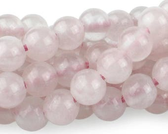 Rose Quartz 8mm Gemstone Rounds Approx 24 beads 8 Inch strand