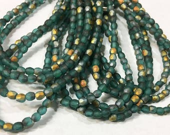 Matte Emerald Luster Czech Glass Firepolished Crystal Beads 3mm 50 beads
