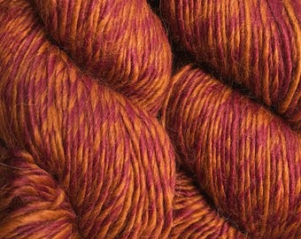 Flames Rust Fuchsia Red Color Duo Alpaca Merino Wool Yarn 197 yards Worsted Weight Color 212