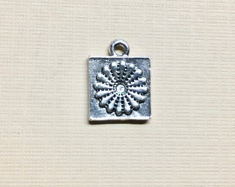 Quilt Block Silver Plated Charm Pendant Dresden Flower Quilting Block 15x12mm Made in the USA One Charm