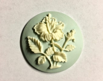 Hibiscus Flower Vintage Look Sky Blue Cameo Jewelry Cabochon Pendant 34mm Round 1 pendant