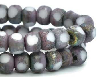 Trica Beads Opaque White Thistle Purple Etched AB Finish Czech Pressed Glass Rondelles Beads 4x3mm 50 beads