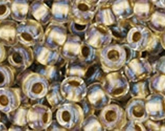 8/0 Inside Color Crystal Gold Lined Toho Glass Seed Beads 2.5 inch tube 8 grams TR-08-262