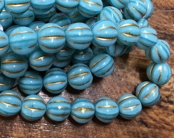 8mm Melon Beads Teal Blue with Gold Finish Czech Pressed Glass Round Corrugated Melon Beads 8mm 20 beads