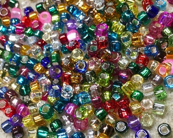 6/0 Multi Color Silver Lined Japanese Seed Beads 6 Inch Tube 28 grams
