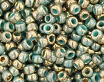 11/0 Gilded Marble Turquoise Toho Glass Seed Beads 2.5 inch tube 8 grams TR-11-1703