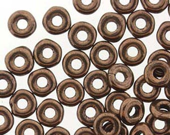 O Beads Jet Bronze Czech Glass Donut Ring Beads 3.8 x 1mm 8 grams