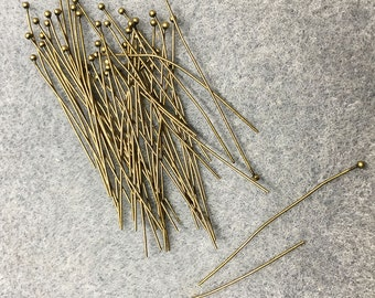 1.5 inch Antique Bronze Plated Ball End Headpins 1.5 inches 24 gauge 50 pcs