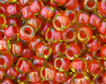 8/0 Inside Color Jonquil Hyacinth Lined Toho Glass Seed Beads 2.5 inch tube 8 grams TR-08-303