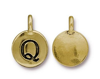 "Letter ""Q"" Initial Pendant Tiny Gold Charm TierraCast Antique Gold Alphabet Charms TierraCast Lead Free Pewter 16.5x11.5mm One Charm"