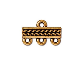 2 Antique Gold Links Tierra Cast 3-1 Three Strand Connector Braided Pattern Double Sided 15x10mm Two Connectors 2 pcs