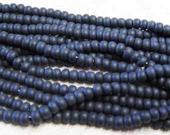 6/0 Jet Black Matte Genuine Czech Glass Preciosa Rocaille Seed Beads 6 String Half Hank 76 grams