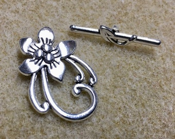 10 Elaborate Flower Toggle Clasp Antique Silver Floral Toggle Clasps 25mm x 29mm F387