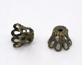 20 Antique Bronze Lacy Filigree Basket Bead Caps 6mm x 5mm fits 6mm beads F390