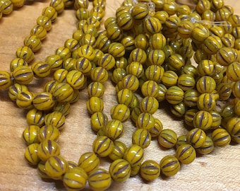 6mm Melon Beads Opaque Mustard with Brown Wash Finish Czech Pressed Glass Round Druk Beads 25 beads