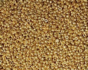 15/0 Gold Duracoat Galvanized Miyuki Glass Seed Beads 6 inch tube 28 grams #D4202