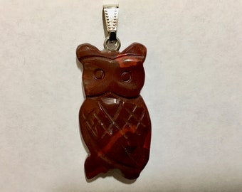 Red Jasper Gemstone Owl Pendant with Bail Double Sided 43mm x 22mm 1 pendant