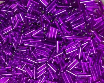 25 g Miyuki #1 Bugle Beads  3mm Transparent Teal # 92405