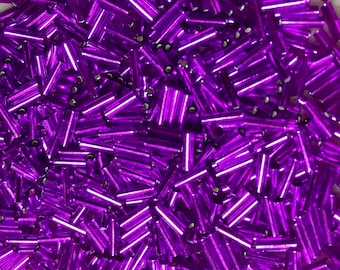 Violet Silver Lined Japanese Glass Bugle Beads 6mm 28 grams #27