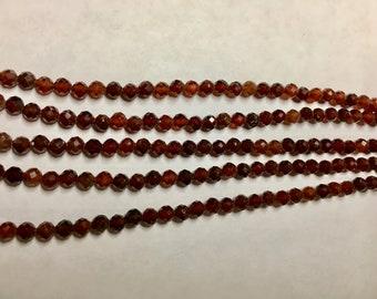 Orange Garnet 4mm Faceted Gemstone Round Beads Approx 50 Beads