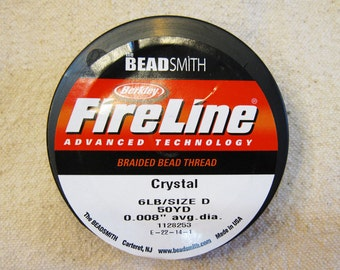 "6 lb Crystal Fireline Braided Beading Thread Size D .008"" Avg Diameter 50 yards"