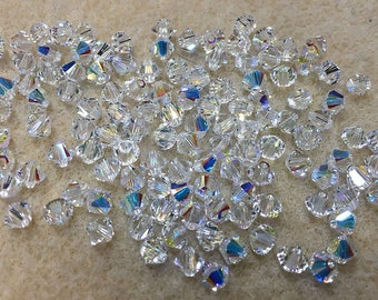 Crystal AB 5328 Bicone Swarovski Crystal Beads 4mm 48 beads