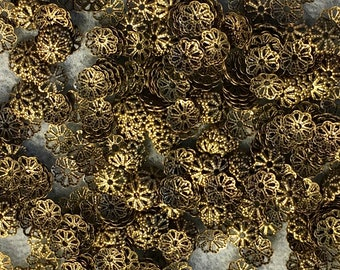 50 Antique Brass Small Floral Cut Out Design Filigree Bead Caps 7mm Made in USA 50 pcs F480