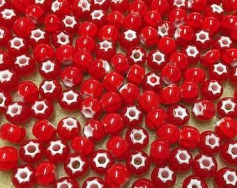 32/0 Red Preciosa Ornela Star Cornelian Rocaille Seed Beads 6x7mm 20 pcs