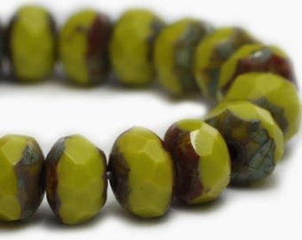 3x5mm Rondelle Peridot with Picasso Finish Czech Pressed Glass Beads 30 beads