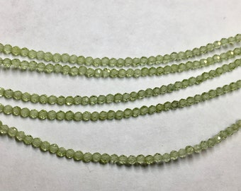 Peridot 2mm Faceted Gemstone Round Beads Approx 80 Beads