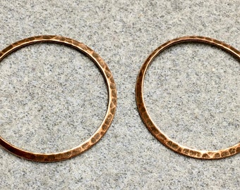 Hammered Rustic Large Rings Vintage Look Antique Copper Plated Brass 33mm 2 pcs F442C
